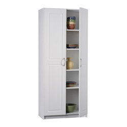 Ameriwood - Ameriwood Deluxe Storage Pantry in White Stipple - Ameriwood - Pantry - 7344015Y - The Deluxe Storage Cabinet from Ameriwood provides a concealed storage behind raised panel doors with brushed nickel handles. It has a total of five shelves with two adjustable shelves that offers plenty of storage.