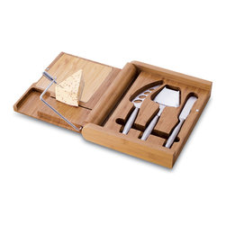 "Picnic Time - Soiree Cheese Board With Tools - The Soiree by Picnic Time is an original gourmet cheese board set with tools. This folding premium bamboo cutting board was designed with convenience and safety in mind. It is so compact it can be stored on its end with your cookbooks! Strategically placed heavy-duty magnets keep the tools secure in their cubbies to guard against them falling out. Measuring 9.5"" x 1.5"" x 11"", the Soiree features 104.5 sq. in. of surface space on each of its exterior lids. It also features a 6.25"" x 6.25"" light bamboo cutting plate inside, as well as a wire cheese slicer, and three brushed stainless steel cheese tools, including: 1 cheese plane, 1 fork-tipped cheese knife (with holes to prevent cheese from sticking to blade), and 1 cheese spreader. Your guests will be impressed when you display the Soiree at your next dinner party or get-together!. Includes: 1 integrated wire cheese cutter, 1 cheese plane, 1 fork-tipped cheese knife (with holes to prevent cheese from sticking to blade), and 1 cheese spreader"