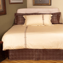 www.equestrian-interiors.com - Our signature fence design is embroidered on a luxurious silky 350 thread count 100%  cotton sateen. This exclusive embroidered design will bring classic elegance to your bedroom. Please let us know if would like us to send you a sample swatch of our bedding collection fabric.