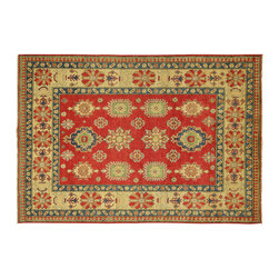 Manhattan Rugs - New Antiqued Hand Knotted Red & Ivory 6'x9' Unique Oriental Kazak Wool Rug H3380 - This is a true hand knotted oriental rug. it is not hand tufted with backing, not hooked or machine made. our entire inventory is made of hand knotted rugs. (all we do is hand knotted)