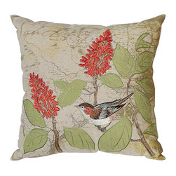 Embroidered Bird Pillow - Cotton and linen pillow features a highly detailed flowering bush with a jaunty bird enjoying the view. Eighteen by eighteen.