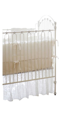 """Velvet Baby In Ivory Crib Bedding Set 2 Piece Set - Velvet Baby in Ivory Crib Bedding Set 2 piece set. This two piece baby bedding crib set includes a crib sheet and a 17"""" tailored skirt. Three piece set includes bumper, sheet and skirt. Bumper is slip covered for easy cleaning. Make it a four piece set by including a coordination blanket."""