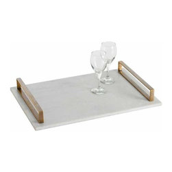 "Arteriors - Arteriors Home - Exton Tray - 2180 - This white polished marble slab tray is balanced with brass rail handles. A sleek solution to serving drinks, displaying collectibles or entertaining at parties. Features: Exton. Collection: Tray Polished marble slab tray Some Assembly Required. Dimensions: W 22"" x D 15"" x H 3"""
