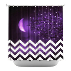 DiaNoche Designs - Purple Moon Chevron Shower Curtain - Sewn reinforced holes for shower curtain rings. Shower curtain rings not included. Dye Sublimation printing adheres the ink to the material for long life and durability. Machine washable. Made in USA.