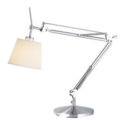 Angle Table Lamp - This architect-style desk lamp has a pleasing, modern feel. Its brushed steel body is widely adjustable with an open design. It would look great on a spare wooden table or desk.