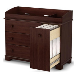 South Shore - Changing Table in Cherry Finish - Precious - 3 Practical drawers perfect for clothes. Metal slides for smooth gliding on the 3 drawers. Square wooden legs that match the straight lines of the drawer handles. Transitional style. Closed storage to keep the bedroom clutter-free. Rounded edges for increased safety. Removable top section that can be used as a drawer chest a few years into the child's life. Divided into 2 sections: one for the baby and one to keep changing essentials at arm's reach. Ready to assemble. Adult assembly required. 5-Year Warranty. 47.25 in. W x 19.5 in. D x 38.5 in. HThe changing table is manufactured in compliance with consumer health and safety laws and ASTM standard F2388. Vertical sliding drawer allowing you to reach for diapers and baby wipes without leaving the child Full extension metal glides on the vertical sliding drawer. Manufactured from laminated particle board. Our products are made of EPP certified panels (Environmentally Preferred Product). This item's packaging is ISTA 3A-certified to ensure its integrity and your total satisfaction. Shrink-wrapped packaging with reinforced corners to reduce the risk of shipping damage.
