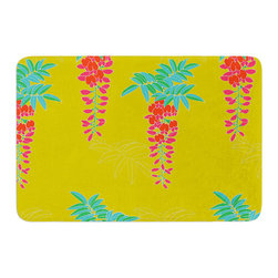 "KESS InHouse - Gukuuki ""Ipanema"" Yellow Memory Foam Bath Mat (24"" x 36"") - These super absorbent bath mats will add comfort and style to your bathroom. These memory foam mats will feel like you are in a spa every time you step out of the shower. Available in two sizes, 17"" x 24"" and 24"" x 36"", with a .5"" thickness and non skid backing, these will fit every style of bathroom. Add comfort like never before in front of your vanity, sink, bathtub, shower or even laundry room. Machine wash cold, gentle cycle, tumble dry low or lay flat to dry. Printed on single side."