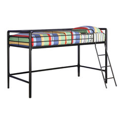 Ameriwood - DHP Junior Metal Loft Bunk Bed in Black - Ameriwood - Bunk Beds - 5458196 - The Junior Metal Loft Bed by DHP is perfect for any child in your house. Fitting for smaller rooms the space-saving metal frame design of this loft bed is durable and solid through years of use.