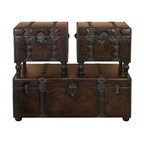 """BZBZ74402 - Huge Set of 3 Custom House Leather N Wood Chest Trunks - Huge Set of 3 Custom House Leather N wood Chest Trunks. Trunk Boxes are made in treated wood and faux leather. This is Set of 3 boxes, large box is 48 inches wide x 19""""H x 24"""" Land other 2 boxes are 22""""W x 20""""H x 21"""" L. These boxes can be used for accent pieces or Treasure Chest in Family room, Living rooms or bedrooms."""