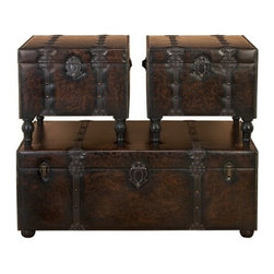 "BZBZ74402 - Huge Set of 3 Custom House Leather N Wood Chest Trunks - Huge Set of 3 Custom House Leather N wood Chest Trunks. Trunk Boxes are made in treated wood and faux leather. This is Set of 3 boxes, large box is 48 inches wide x 19""H x 24"" Land other 2 boxes are 22""W x 20""H x 21"" L. These boxes can be used for accent pieces or Treasure Chest in Family room, Living rooms or bedrooms."