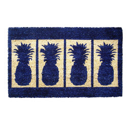 Entryways - Four Pineapples Extra Thick Handwoven Coconut Fiber Doormat - Designed by an artist, this distinctive mat is a work of art that will add a welcoming touch to any home. It is from Entryways' handmade collection and meets the industry's highest standards. This decorative mat is handsomely hand woven and hand stenciled.