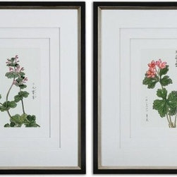 """Grace Feyock - Grace Feyock Asian Flowers Contemporary / Modern Wall Art / Wall Decor X-31514 - Three, very light gray, v-grooved mats accent this set of prints. Each mat floats 1/4"""" above the other giving added depth and dimension. Frames are black satin with champagne silver leaf inner edges. Prints are under glass."""