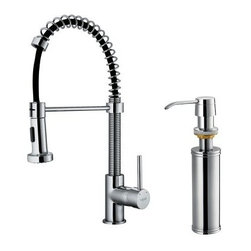 Vigo VG02001K2 Single Handle Pull Down Kitchen Faucet with Soap Dispenser - The Vigo VG02001K2 Single Handle Pull Down Kitchen Faucet with Soap Dispenser makes a statement in your home kitchen. This all-brass faucet is available in your choice of chrome or stainless steel finish and comes with a retractable spiral hose with elongated head and matching soap dispenser. Product Specifications ADA Compliant: Yes Low Lead Compliant: Yes Mount Type: Deck Mount Handle Style: Lever Valve Type: Ceramic Disc Flow Rate (GPM): 2.2 Swivel: 360 degrees Spout Height: 6.625 in. Spout Reach: 9.5 in. About Vigo Industries LLCFounded just over a decade ago in Rahway N.J. Vigo Industries has established a reputation for offering attractive affordable innovative and durable kitchen and bath products. From faucets and sinks to shower enclosures and bathroom vanities Vigo's products are designed with state-of-the-art engineering that combines efficiency and elegance. Vigo's engineering and design teams always look ahead to fulfill the ever-evolving needs and tastes of consumers bringing them the latest styles and trends without compromising quality.