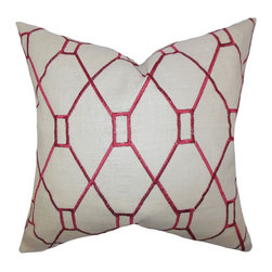 """The Pillow Collection - Nevaeh Geometric Pillow Red 18"""" x 18"""" - Spruce up your space with this gorgeous accent pillow. This throw pillow features a unique geometric pattern in red hue on a neutral background. This indoor pillow adds a contemporary twist to your living room, bedroom or lounge area. Take your decor style into the next level by mixing in solids and other patterns."""