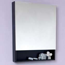 Fresca - Espresso Bathroom Medicine Cabinet w Small Bo - Product Material: Wood, Glass. Finish: Espresso. Soft Closing Mirror. 28 in. W x 35 in. H x 5 in. DThis Espresso medicine cabinet normally comes with the Infinito vanities (FVN3301ES & FVN3307ES), but can be purchased separately. It features a small bottom shelf and a mirrored medicine cabinet. For something slightly smaller, check out the FMC6124ES.