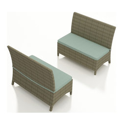 Forever Patio - Hampton Patio Dining Bench, Heather Wicker and Spa Cushions - Create a new look for your dining set with the sleek and stylish Forever Patio Hampton Rattan Patio Dining Loveseat Bench with Turquoise Sunbrella cushions (SKU FP-HAM-DLSB-HT-SP). The UV-protected, heather wicker sports a flat woven design, creating a contemporary look with clean lines. Each strand of this outdoor wicker is made from High-Density Polyethylene (HDPE) and is infused with its rich color and UV-inhibitors that prevent cracking, chipping and fading ordinarily caused by sunlight. This modern outdoor dining bench is supported by thick-gauged, powder-coated aluminum frames that make it more durable than natural rattan. This wicker outdoor dining bench includes a fade- and mildew-resistant Sunbrella cushion for added comfort in your outdoor space.