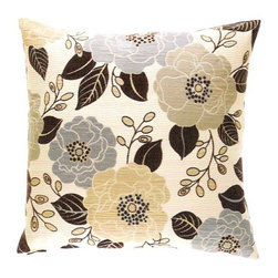 """Canaan - 24"""" x 24"""" Bloomster Cream Flower and Leaf Pattern Throw Pillow - Bloomster cream flower and leaf pattern throw pillow with a feather/down insert and zippered removable cover. These pillows feature a zippered removable 24"""" x 24"""" cover with a feather/down insert. Measures 24"""" x 24"""". These are custom made in the U.S.A and take 4-6 weeks lead time for production."""