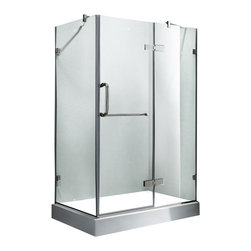 Vigo - Vigo 32 x 48 Frameless 3/8in.  Clear/Chrome Shower Enclosure with Right Base - Update your bathroom with this uniquely stylish and totally frameless Vigo rectangular-shaped shower enclosure