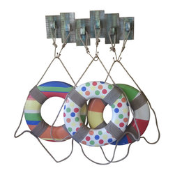 Three Beach Theme Life Rings w/ Wood Wall Display Rack - 3 colorful life rings and a weathered wood wall display rack. Very 'nautical-chic'. Perfect wall decor for a lake house, beach house or cottage......Price for the whole kit and kaboodle is $129...