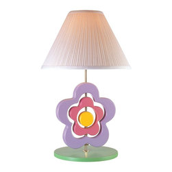 Lite Source - Lite Source Hippie Spinning Flower Kids Table Lamp X-60105LFS3 - This Lite Source kids lamp features a spinning flower design with three pieces: a large lavender purple and smaller pink petal design paired with a sunshine yellow center. The green base adds to the garden-inspired look while a tapered and pleated white fabric diffuser completes the look.