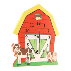 Teamson Design - Fantasy Fields Hand Painted Happy Farm Wall Clock - Teamson Design - Wall Clocks - TD11328A - Rise and shine the early bird catches the worm! On the farm there is no time to sleep in because the animals need to be fed and chores need to get done! Teamson's Happy Farm Wall Clock assists your little one in learning to tell time and to keep track of their responsibilities. Hand carved into the shape of a barn and painted a rustic red the clock throws off a country vibe and is the perfection addition to the farm collection.