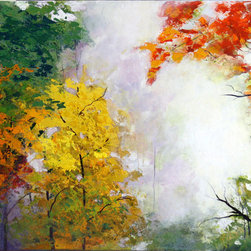 """Mist I"" 36""X 24"" Original Trees Painting Fall Autumn - This is an original painting on stretched canvas 24in x 36in, signed and dated by the artist."