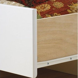 """Prepac - Monterey Storage Platform Bed - Imagine a 6-drawer dresser built right into the frame of your bed. Then, imagine it with extra deep 19 inches drawers. That's enough to hold all your socks, underwear, extra blankets, sheets, linen supplies, sweaters, crafts or games. Drawers run smoothly on metal roller glides and open easily with finger-pulls on the bottom of the drawer fronts instead of handles. This gives the beds a clean look and ensures that your bed clothes don't catch on the drawers when you get out of bed. The Monterey Collection offers a sophisticated look at a fraction of the price. Distinguishing features such as elegantly profiled edges on the tops and drawer fronts, uniquely shaped kickers and antique pewter finished hardware give this ready to assemble collection a stylish elegance. Thoughtful engineering and intelligently grouped production let you enjoy pricing that's well below the cost of traditional pre-finished products. Features: -Six spacious drawers for the Full and Queen.-All-metal roller glides for smooth opening.-Constructed for standard mattress use.-Made from MDF and composite woods.-Wooden slats and metal supports.-Solid wood glides on metal runners with built in safety stops on drawers.-Three spacious drawers for the Twin.-Distressed: Yes.-Country of Manufacture: Canada.Dimensions: -Full dimensions: 18.75"""" H x 57"""" W x 76.5"""" D.-Queen dimensions: 18.75"""" H x 63"""" W x 81.5"""" D.-Overall Product Weight: 174.75 lbs. About the Manufacturer: About Prepac: Founded in 1979, Prepac Manufacturing is a state-of-the-art manufacturer of home furnishings and storage products with its main manufacturing factory located in the heart of the forest-rich province of Brit'sh Columbia, Canada. Prepac is now one of the largest producers of ready to assemble furniture in Canada, with full-service representation throughout North America. To ensure our customers receive outstanding design and quality at competitive prices, Prepac's design, engineering, produ"""