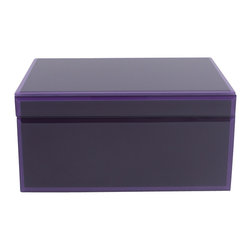 WOLF - Glass Jewelry Box, Purple - The Royal collection is a handsome assortment of glass jewelry boxes in rich, saturated hues. Dark purple has been applied to the underside of the glass for a heightened sense of depth, and the bevelled edges are treated in a similar fashion with a lighter purple for contrast.