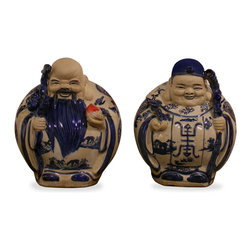 """China Furniture and Arts - Porcelain Gods of Longevity - The Gods of Longevity are depicted here in charming blue and white porcelain. The male (left) god, Shou, is seen holding a mythical peach, a fruit which only blossoms every 3000 years and symbolizes immortality in Chinese culture. The female (right) bears the Chinese character of longevity and a """"Ru Yee"""", which represents prosperity."""