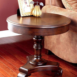Signature Design by Ashley - Round Pedestal End Table - Brookstone Collect - Pedestal end tables are the personification of classic styling. You'll find Americana charm in the Brookfield design with its round top and simple wide apron. A turned column support adds embellishment along with the shaped base and solid wood scroll feet. Color/Finish: Dark Rustic. Collection: Brookstone. Traditional design with a European country flavor. 26 in. W x 26 in. D x 25 in. H