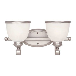 Savoy House - Savoy House Willoughby 2 Light Bath Bar in Pewter - 8-5779-2-69 - A builder's dream, versatile and polished in Pewter with White Marble glass (topped off with a pewter rim). The perfect match for today's popular stainless steel appliances.