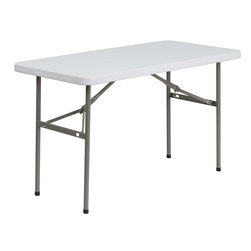 Flash Furniture - Flash Furniture 24''W x 48''L Granite White Plastic Folding Table - This rectangular folding table is beneficial in a multitude of environments that include banquet halls, conference centers, cafeterias, schools and in the home. The table can be used as a temporary seating solution or be setup for everyday use. The durable blow molded top requires low maintenance and cleans easily. The table legs fold under the table to make storage more convenient and for better portability. This table is commercial grade to withstand everyday use in the hospitality industry.