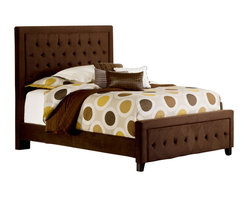 Hillsdale Furniture - Hillsdale Kaylie Upholstered Panel Bed in Chocolate - King - Tall, elegant, and impactful, the Kaylie Bed is ready for royalty. With its statuesque headboard and compact footboard, button and tuck styling, and inviting microfiber fabric, the Kaylie Bed is a statement in luxury.