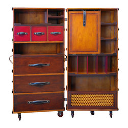 Authentic Models - Authentic Models MF077B Stateroom Armoire, Black - Early 19th C. French Louis Vuitton and Goyard trunk and luggage workshops exported to the traveling upper classes of the world. As trunk-making techniques became more advanced, these makers produced virtuoso examples of the French styles. Complete traveling closets were made to accommodate the elaborate dresses, suits, and uniforms of the Belle Epoque. Inspired by originals from the turn of the century, AM introduces a collection of nostalgic but highly practical trunk reproductions. The Armoire features a multitude of shelves and drawers to store and display. Hand-sewn bridle leather straps and brass hardware support a foldout shelf for use as workspace. It opens to a removable, inset shelf-unit with a removable mirror stored in the back. The rattan compartment underneath will hold laundry and shoes. Fun, decorative and practical. Locks with keys.