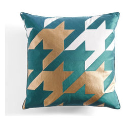 Grandin Road - Oversized Multicolored Pillow in Blue - Colorful square pillow with an oversized houndstooth check. Irreverent treatment of a conventional pattern makes a strong style statement. Decorative cover is 45% polyester / 45% cotton / 10% polyurethane. Inner pillow has a 100% cotton cover with 95/5 feather/down fill. Adds a bold pop of color to a sofa or bed. Put a brash new spin on a classic pattern with our David Bromstad Oversized Houndstooth Pillow. David's cheeky take on tradition is showcased in the way he magnified the design and added shimmering metallic accents. That splash of color is the final, confident touch.. . . . . Imported. A Grandin Road exclusive.