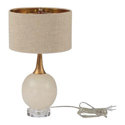 Gabby - CORINNE LAMP - This beautiful alabaster stone sphere sits atop a clear glass base. This chic petite buffet lamp is complemented by an antique gold neck and linen shade featuring a gold foil interior that will illuminate any space.