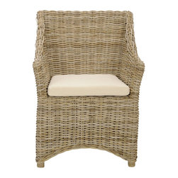 Safavieh - Ventura Arm Chair - Envelope your guests in comfort and style with the transitional good looks of the woven rattan Ventura Arm Chair. Crafted of tropical kubu and mango wood with upholstered cotton seat cushion, Ventura's brown white washed finish and ample lines are highlighted with beautiful braided detail along its back and arms.