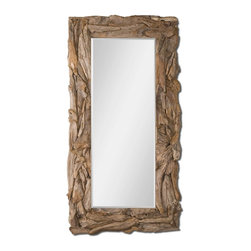 """Uttermost - Uttermost Natural Teak Root Mirror 05027 - This stately mirror features a natural, unfinished, sculpted teak root frame. Mirror has a generous 1 1/4"""" bevel. May be hung either horizontal or vertical."""