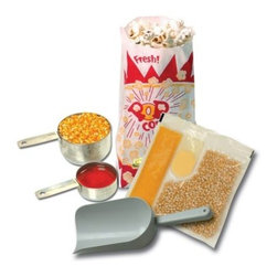 Benchmark USA 45004 4 oz. Poppers Starter Kit - With everything you need to start popping amazing popcorn, the Benchmark USA 45004 4 oz. Poppers Starter Kit makes a convenient must-have for the popcorn enthusiast. With 24 pre-measured portion popcorn packs, one hundred 1-ounce paper portion bags for serving, a plastic scoop for filling your bags, and a corn and oil cup to ensure proper portioning, this kit will have you running your own popcorn stand in no time. Designed for 4-ounce poppers.