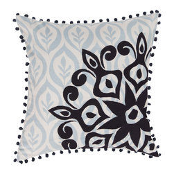 Surya - Square Cotton Pillow KS-019 - Allow your space to bloom and fly away in style with this priceless pillow from the Kate Spain collection. The light blue feather images float along the backdrop, while the vibrant black flower images blossom as the focal point of the piece. This pillow contains a zipper closure and provides a reliable and affordable solution to updating your home's decor.