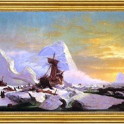 """William Bradford-16""""x24"""" Framed Canvas - 16"""" x 24"""" William Bradford Crushed in the Ice framed premium canvas print reproduced to meet museum quality standards. Our museum quality canvas prints are produced using high-precision print technology for a more accurate reproduction printed on high quality canvas with fade-resistant, archival inks. Our progressive business model allows us to offer works of art to you at the best wholesale pricing, significantly less than art gallery prices, affordable to all. This artwork is hand stretched onto wooden stretcher bars, then mounted into our 3"""" wide gold finish frame with black panel by one of our expert framers. Our framed canvas print comes with hardware, ready to hang on your wall.  We present a comprehensive collection of exceptional canvas art reproductions by William Bradford."""