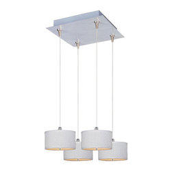 "ET2 - ET2 E95494 Elements 4 Light 3.75 Inch Drum Shade Square Foyer Pendant - Bulbs In - ET2 E95494 Four Light 3.75 Inch Drum Shade Square Foyer Pendant from the Elements Collection - Bulbs IncludedA twist on a classic design, the Elements four light foyer pendant features small 3.75"" tall drum shaped perforated fabric shades that will enhance the appeal of any room.ET2 E95494 Specifications:"