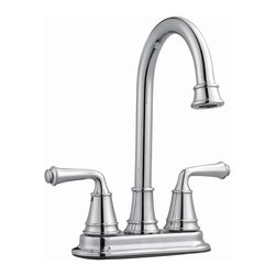 Design House - Eden Bar Faucet (Polished Chrome) - Color: Polished ChromeThree holes and 4 in. center mount. 2.1 gallon per minute flow rate @60 psi ensures a steady water flow. Quarter turn stop for lever handle. Zinc made handle. Ceramic disc cartridge. Brass waterways contain zinc and copper which ensuring safe and clean water. Strong corrosion resistant finish. UPC, ASME A112.18.1-05, ANSI, IAPMO, ADA, AB1953, lead free and cUPC compliant. Spout reach: 5.56 in.. Overall: 9.2 in. W x 7.2 in. W x 10.7 in. H. Warranty. Assembly instructions. Parts ListClassic finish and sleek modern design to accent the comfort and style of any kitchen. Wash dishes or fill pitchers with ease underneath this high vaulted faucet.