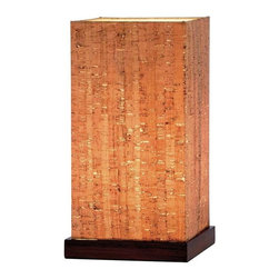 Adesso - Adesso Sedona Table Lantern, Walnut - 4083-15 - Square Natural cork shade has a PVC lining