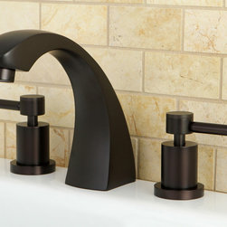 None - Oil Rubbed Bronze Roman Tub Filler Faucet - You can update your bathroom with this brass Roman tub filler faucet. The contemporary-style faucet has two handles and is supplied with an oil-rubbed bronze finish. This modern filler faucet will add a touch of style to any modern bathroom.