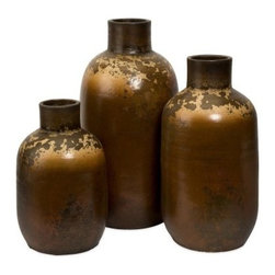 IMAX 15-22H in. Ortega Vases - Set of 3 - For those with that certain chic sensibility, the IMAX 15-22 in. Ortega Vases - Set of 3 can't be passed up. Enjoy the bold appeal of this set and revel in the envy of your friends.About IMAXWhat began as a small company importing copper flower containers in 1984 by Al and Faye Bulak has developed into one of the top U.S. import companies serving the At Home market today. IMAX now provides home and garden accessories imported from twelve countries around the world, housed in a 500,000 square foot distribution center. Additional sourcing, product development and showroom facilities in the USA, India and China make IMAX a true global source. They're dedicated to providing products designed to meet your needs. This is achieved through a design and product development team that pushes creativity, taste and fashion trends - layering styles, periods, textures, and regions of the world - to create a visually delightful and meaningful environment. At IMAX, they believe style, integrity, and great design can make living easier.