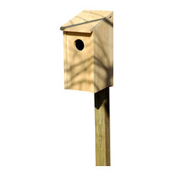 Heartwood - Screech Owl Joy Box Bird House - This  beautiful  birdhouse  is  the  perfect  addition  to  any  home  or  garden  of  your  choice.  Season  after  season,  this  delightful  nesting  box  is  a  joy  to  behold  and  a  breeze  to  maintain  thanks  to  the  easy  twist  latch  and  side-front  panel  that  also  inverts  for  winter  roosting.  Rugged  construction  features  13/16  solid  cypress  and  headed  ring  shank  stainless  steel  nails.  This  bird  house  is  one  you  are  sure  to  enjoy  in  the  years  to  come.  Also  sized  for  all  variety  of  residents.                  9-1/2x13x21              3  hole              Handcrafted  in  USA  from  renewable,  FSC  certified  wood