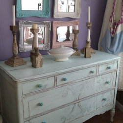 Beach cottage Antique Distressed Dresser Aqua Blue - I love the way this piece turned out. I achieved this finish by layering different shades of aqua blues then a heavier distressing. I also added lovely rose knobs. So pretty