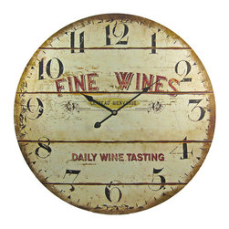 Fine Wines Barrel Motif 23 Inch Diameter Wall Clock - Made of fiberboard, this gorgeous 23 inch diameter battery powered wall clock features a wine and grapes on the face. The clock has a distressed look, with wear marks and printed paint cracks as part of the design. It runs on one AA battery (not included). This wall clock is BRAND NEW, never hung, and makes a great gift for anyone who loves wine.