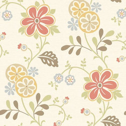 Brewster Home Fashions - Amelie Red Modern Floral Trail Wallpaper Bolt - Like an enchanting wildflower meadow this Scandinavian inspired wallcovering brings a whimsical floral trail to walls in a rich array of bright colors.